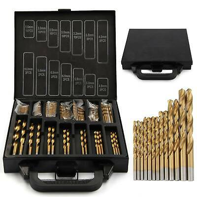 UK Titanium Drill Bit Set Kit for Metal 99 PCS Coated HSS - From 1.5mm to10mm