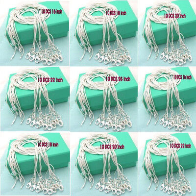 WHOLESALE Bulk 10PCS 1MM SOLID 925SILVER JEWELRY SNAKE CHAINS NECKLACE UK STOCK