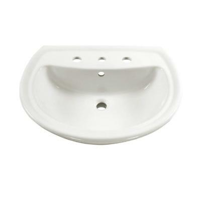 A.S 0236.008.020 Cadet Pedestal Sink Basin with 8-Inch Faucet Spacing, White