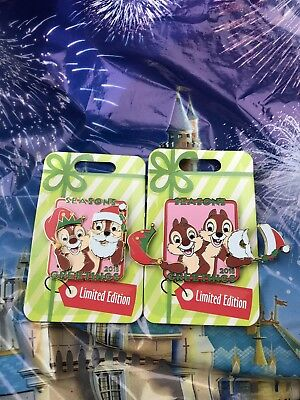 Disney Parks Christmas Season's Greetings Chip & Dale 2018 Pin LE In Hand