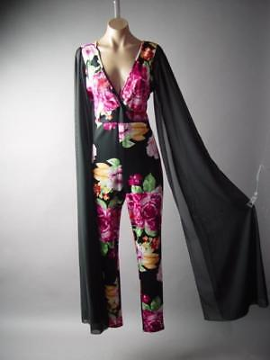 a6dea5f3ec7 Extreme Extra Long Flare Kimono Sleeve Floral Evening Dress Pant 293 mv  Jumpsuit