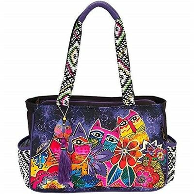 "Laurel Burch Medium Tote 14.5""x4""x10""-whiskered Cats"
