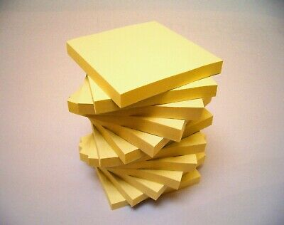"""Yellow Remove It Sticky Post Notes 76mm x 76mm 3""""x 3"""" (12 packs of 100) 1200"""