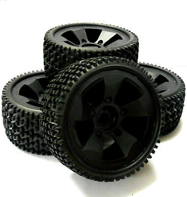 BS502-001 HI502-001 1/5 Scale Monster Truck Wheels and Tyres x 4 Black Plastic
