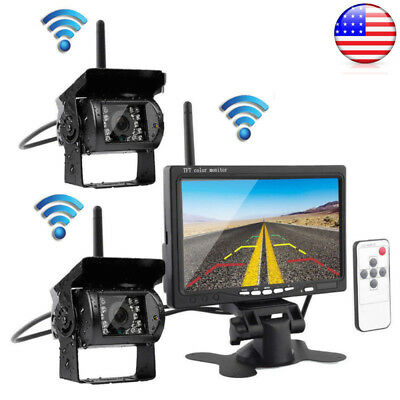 "7"" Monitor+ 2X Wireless Rear View Backup Camera Night Vision For RV Truck Bus US"