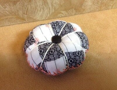 Pin Cushion, Hand Made, Vintage Patchwork Quilt, Four Patch, Feather Stitching