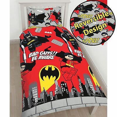 Official Lego Dc Superheroes Batman Kapow Single Duvet Cover Set Kids Bedding