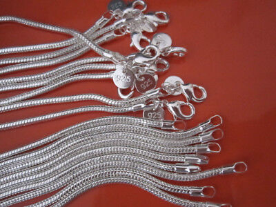 """5PCS 925Sterling Silver Solid Silver 3MM Snake Chains 16""""-24"""" 30""""  ZN192"""