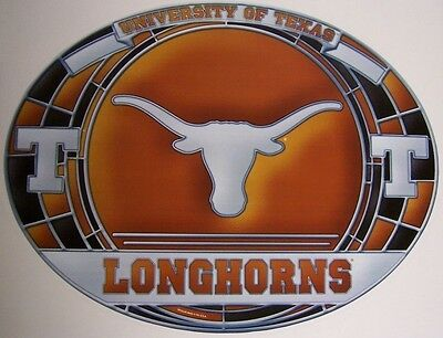 "Stained Glass Window Sticker NCAA Texas Longhorns NEW 17""x11"" Made in USA Decal"