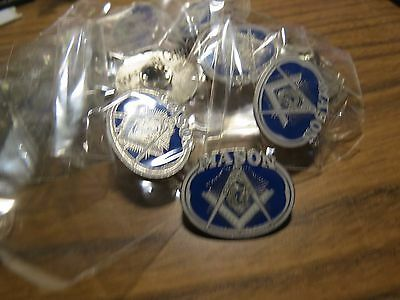 WHOLESALE LOT 12 FREEMASON MASON MASONIC PINS SILVER oval LAPEL PINBACK TIE TACK