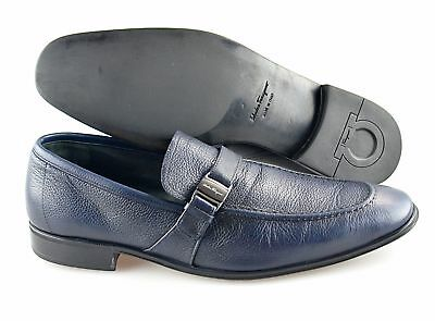 aeb45cd51d1 Men s SALVATORE FERRAGAMO  Pinot  Navy Blue Leather Loafers Size US 8.5 - D
