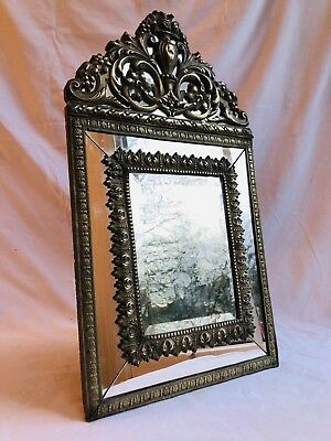 Antique Dutch 19th Century Baroque Style Brass Repousse Mirror Bevelled Glass