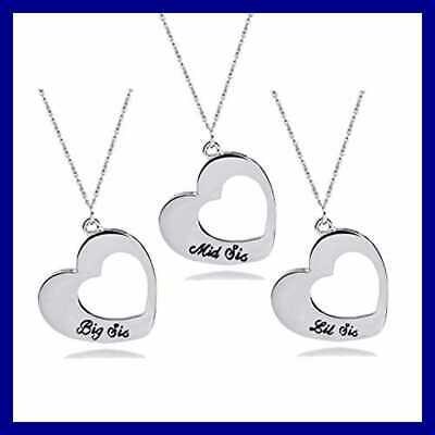 72eba4198a 2PC CRYSTAL HEART Necklace for Sisters Best Friends Lil Sis Big Sis ...