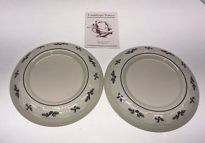 Lot Of 2 Longaberger Pottery Christmas Traditional Holly Pillar Candle Holder