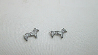 """Dollhouse Miniature 2 Unfinished Metal Tiny Toy Dog 3/8"""" long by 1/4""""tall"""