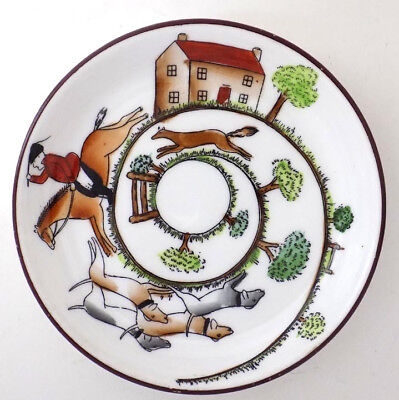 "Crown Staffordshire Hunting Scene 4"" Porcelain Coaster"
