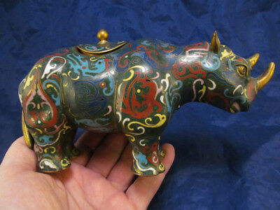 *Antique Qing Chinese Cloisonné Rhinoceros Rhino 19th – early 20th century
