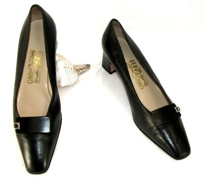 SALVATORE FERRAGAMO Shoes small heels leather veal calfskin black 8 = 39