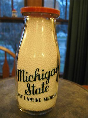 Michigan State College East Lansing, Mich. RPHP Milk Bottle round pyro half pint