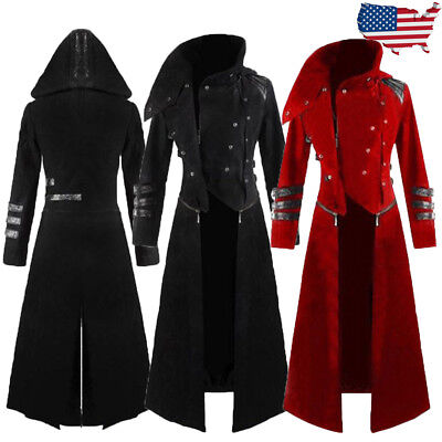 Men Coat Steampunk Vintage Tailcoat Trench Jacket Gothic Victorian Frock Coat US