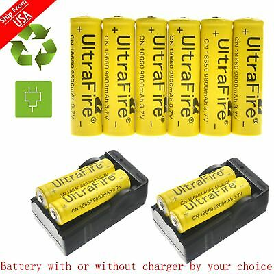 UltraFire 3.7V 9800mAh Rechargeable Li-ion 18650 Batteries Charger For Torch LED