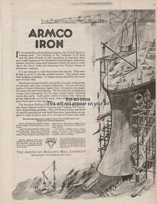 1918 World War I SS Tuckahoe Shipbuilding Record ARMCO Iron Middletown OH Ad