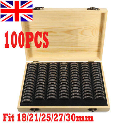 100pcs Wooden Round Coin Case Holder Capsules Storage Container Box Display NEW