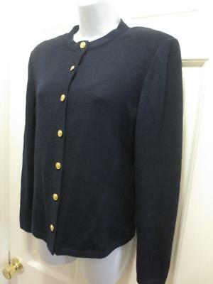 ST. JOHN By MARIE GRAY Navy BLUE CARDIGAN Santana Knit JACKET Blazer 6 S Small