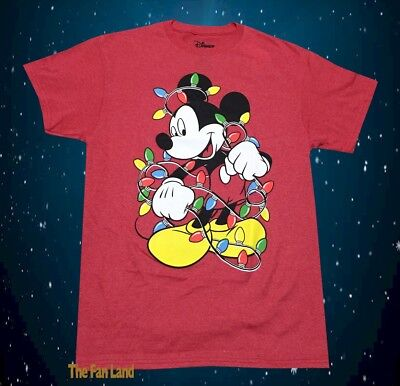New Disney Mickey Mouse Red Cartoon Santa Men's Christmas Vintage T-Shirt