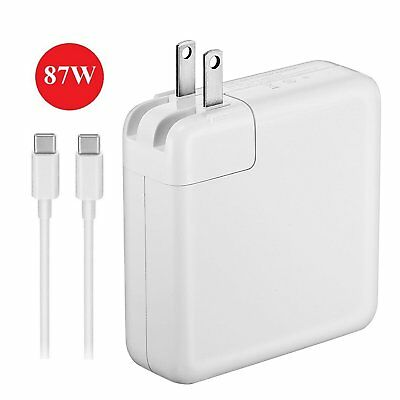 87W USB-C Power Adapter Charger for Macbook Pro w/ 3.1 Fast Charge USB-C Cable