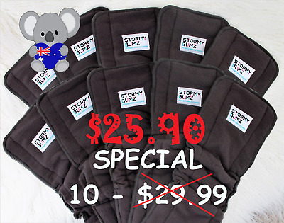 10 + Bamboo Charcoal Inserts / Boosters for Cloth Nappies 5 layer Bulk liners