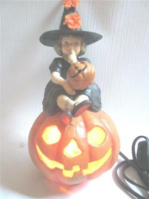 Skylar  Little Girl Witch Seated on JOL Lighted  Halloween by Bethany Lowe