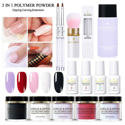 BORN PRETTY 3 in 1 Dipping Acrylic Powder Liquid Kits Powder Acrylic Brush Set