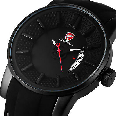 Shark Men's Date Quartz Silicone Black Silicone Band Wrist Watch Sport Casual
