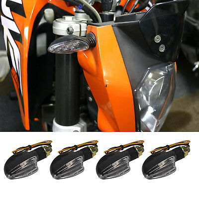 4x Spear Black Bulb Indicators Front & Rear Motorcycle lights Clear Lens