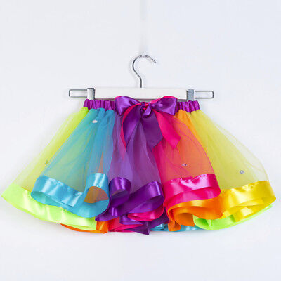 Girls Kids Tutu Party Dance Ballet Toddler Rainbow Baby Costume Skirt