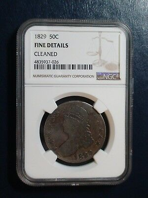 1829 CAPPED BUST HALF NGC FINE SILVER 50C Coin PRICED TO SELL QUICKLY!