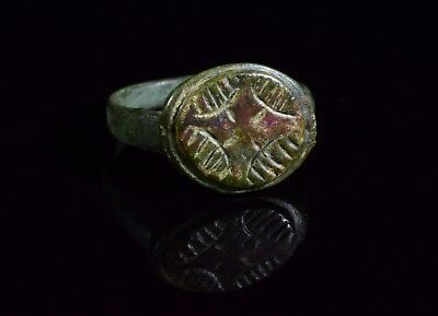 Medieval Crusaders Period Ring With Intricately Decorated Star Motif - T89