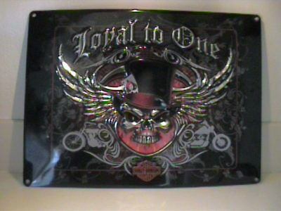 "Nwot Harley Davidson Metal Tin Sign ""loyal To One And To Fun"""