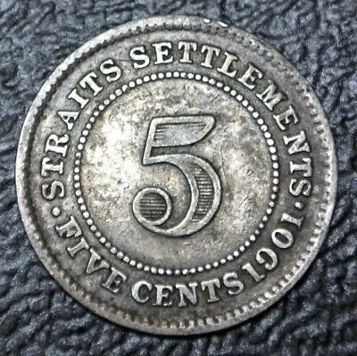 1901 STRAITS SETTLEMENTS - FIVE CENTS - .800 SILVER - Victoria - Nice