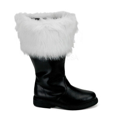 Mens Santa Claus Father Christmas Wide Width Big Guy Costume Boots size 12 13 14