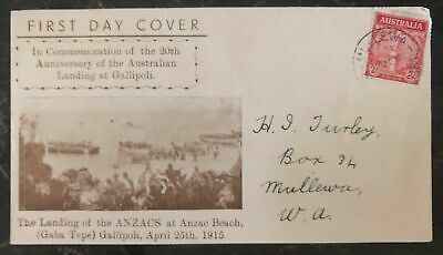 1935 Mullewa Australia First Day Cover FDC Landing Of The ANZACS At Gallipoli