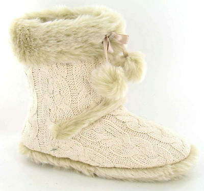 Ladies Spot On Cable Knit Ivory Boot Slippers Style - X2037