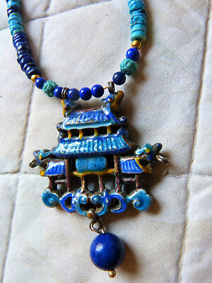 Antique  Chinese silver enamel pendant necklace, genuine turquoise and lapis
