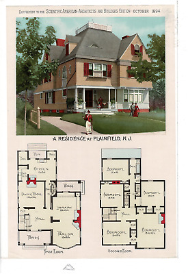 Oct 1894 Scientific American Architects Plainfield Nj Residence Ad Print C900