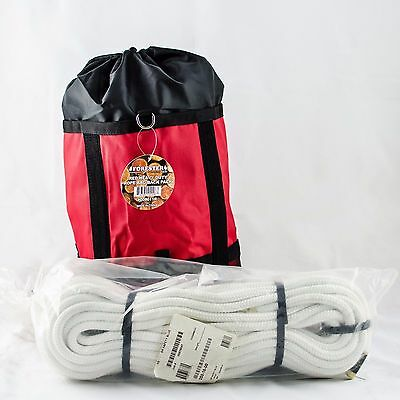 "New EnglandClimbing Rope 16Strand, Rated7000Lb,1/2""x120' Safety Blue White W/Bag"