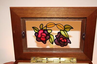 Jewelry box Vintage Wood Stained Glass flowers EUC