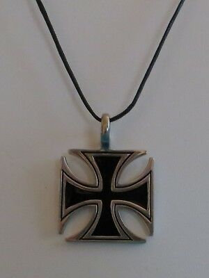 Iron Cross Pendant Necklace  Biker/surfer/goth  Pewter Cross Maltese Cross