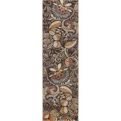 Tayse CPR1010 2x10 Brown Capri Giselle 2 1/4' x 10' Botanical Flowers Runner