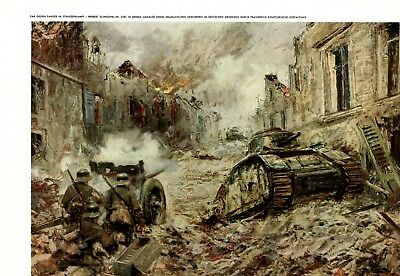 German Tank Defense Cannon vs. French Tank 1941 art print anti-tank gun WW 2 +